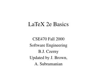 LaTeX 2e Basics
