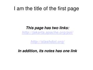 I am the title of the first page