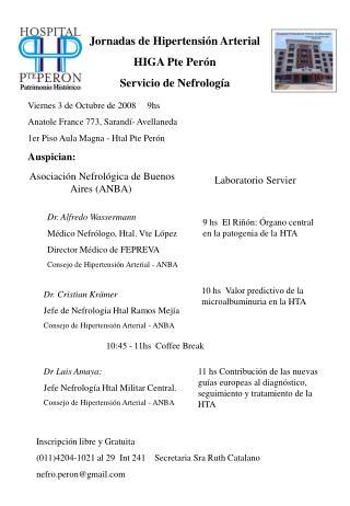 Jornadas de Hipertensión Arterial  HIGA Pte Perón  Servicio de Nefrología