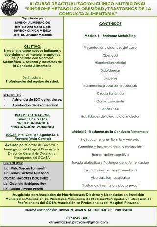 Informes/Inscripción:   DIVISION  ALIMENTACION HTAL. Dr I. PIROVANO   TEL: 4542- 4011