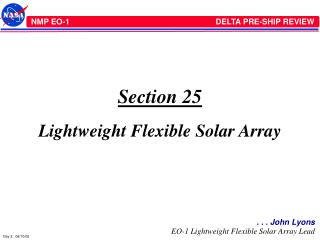 Section 25 Lightweight Flexible Solar Array