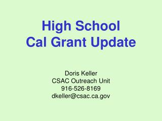 High School Cal Grant Update