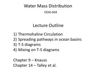 Water Mass Distribution