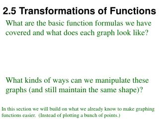 2.5 Transformations of Functions