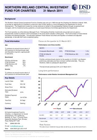NORTHERN IRELAND CENTRAL INVESTMENT FUND FOR CHARITIES         31 March 2011