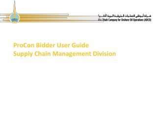 ProCon Bidder User Guide Supply Chain Management Division