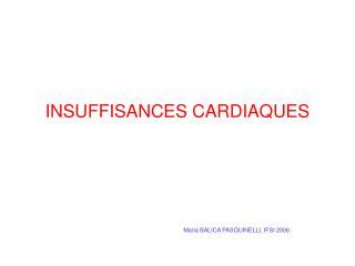 INSUFFISANCES CARDIAQUES