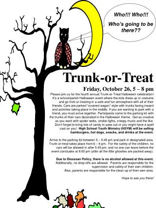 Trunk-or-Treat Friday, October 26, 5 – 8 pm