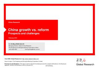China growth vs. reform Prospects and challenges