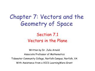 Chapter 7: Vectors and the Geometry of Space