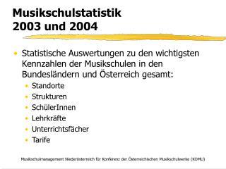 Musikschulstatistik  2003 und 2004