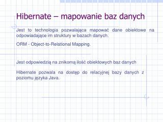 Hibernate – mapowanie baz danych