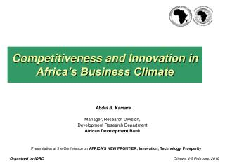 Competitiveness and Innovation in Africa s Business Climate