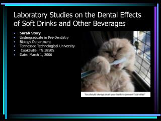 Laboratory Studies on the Dental Effects of Soft Drinks and Other Beverages