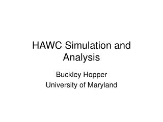 HAWC Simulation and Analysis