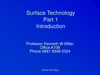 Surface Technology Part 1 Introduction