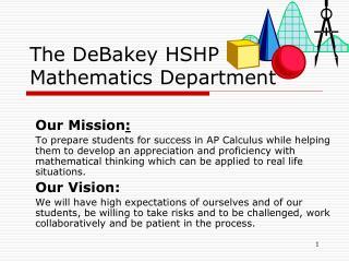 The DeBakey HSHP Mathematics Department