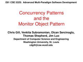E81 CSE 532S:  Advanced Multi-Paradigm Software Development