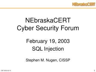 NEbraskaCERT Cyber Security Forum