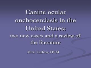 Canine ocular onchocerciasis in the United States:  two new cases and a review of the literature