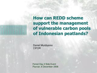 How can REDD scheme  support the management  of vulnerable carbon pools  of Indonesian peatlands?