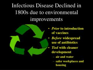 Infectious Disease Declined in 1800s due to environmental improvements