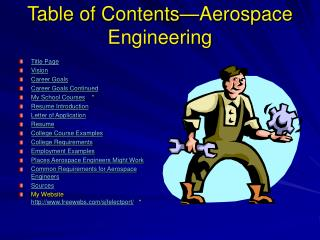 Table of Contents—Aerospace Engineering