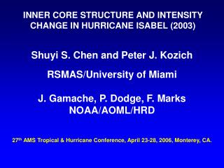 INNER CORE STRUCTURE AND INTENSITY CHANGE IN HURRICANE ISABEL (2003)