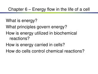 Chapter 6 – Energy flow in the life of a cell