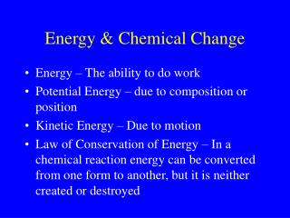 Energy & Chemical Change