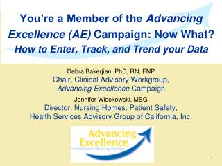 Debra Bakerjian, PhD, RN, FNP Chair, Clinical Advisory Workgroup, Advancing Excellence  Campaign
