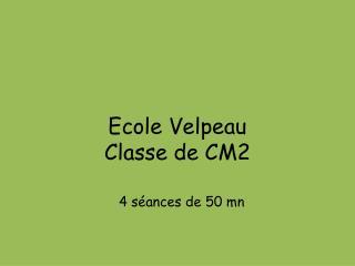 Ecole Velpeau  Classe de CM2