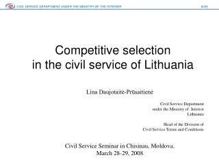 Competitive selection in the civil service of Lithuania
