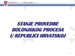 STANJE PROVEDBE  BOLONJSKOG PROCESA  U REPUBLICI HRVATSKOJ