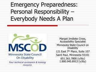 Emergency Preparedness: Personal Responsibility – Everybody Needs A Plan