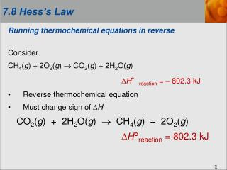 Running thermochemical equations in reverse