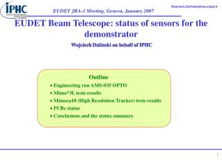 EUDET Beam Telescope: status of sensors for the demonstrator
