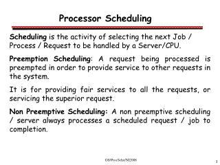 Processor Scheduling