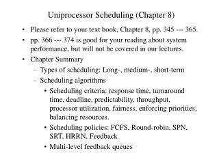 Uniprocessor Scheduling (Chapter 8)