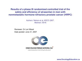 Reviewer: Dr Lori Wood Date posted: June 21, 2007