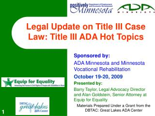Legal Update on Title III Case Law: Title III ADA Hot Topics