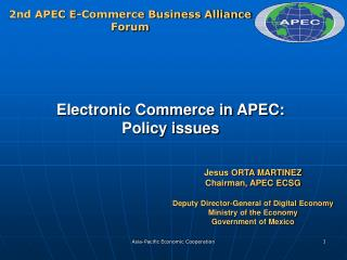 Electronic Commerce in APEC: Policy issues