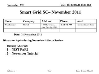 Smart Grid SC– November 2011