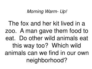 Morning Warm- Up  The fox and her kit lived in a zoo.  A man gave them food to eat.  Do other wild animals eat this way