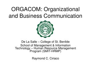 ORGACOM: Organizational and Business Communication