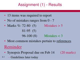 Assignment (1) - Results
