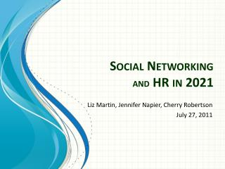 Social Networking  and  HR in 2021