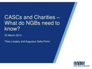 CASCs and Charities – What do NGBs need to know?