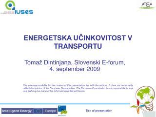 ENERGETSKA UČINKOVITOST V TRANSPORTU