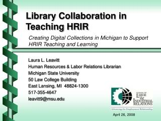 Library Collaboration in Teaching HRIR